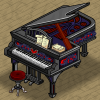 Gothic Valentine Piano and Stool in Neohomes 2.0.