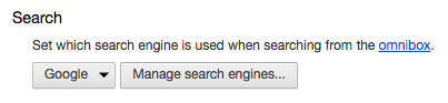 Find the Manage Search Engines button.