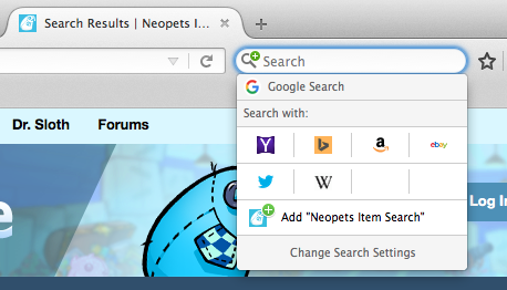 Click on 'Add Neopets Item Search'